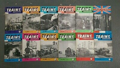Trains, illustrated in original packaging: 12 volumes Jan 1953 to Dec 1953