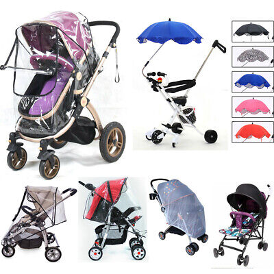 UK Stroller Pushchair Buggy Rain Cover Sun Shade Canopy Insect Net Mesh Umbrella