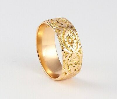 Antique Victorian Solid 18Ct Gold Engraved Patterned Wedding Ring / Band c 1892