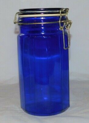 Cobalt Blue Glass Paneled Jar Canister with Metal Hinged Lid VERY NICE