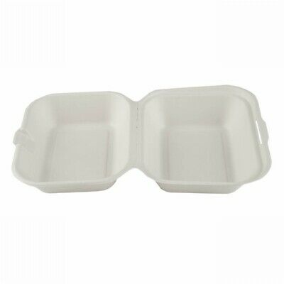 50 x Bagasse Medium Box Renewable Sustainable Recyclable BioDegradable HotBox