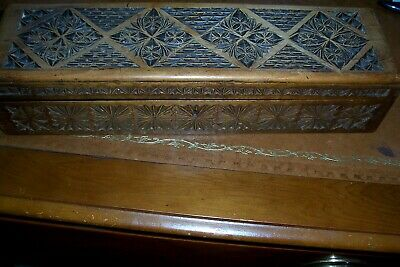 Lovely antique heavily carved box, veneer lined, possibly French
