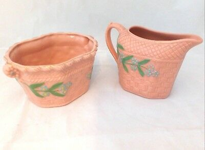 Pink Opaque Glass Milk and Sugar Set Continental Probably Bohemian Antique 19thC