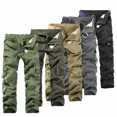 Army Cargo Camo Combat Military Mens Trousers Pants Camouflage Slacks Casual ^^
