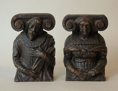 Charming Pair of 17th Century Figural Oak Carvings With Ionic Capitals