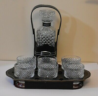 Crystal Whisky Set 7pce 1 bottle 6 glasses and a Black leather tray