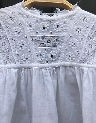 Long White Antique Cotton Babies Night Gown Christening Robe / Dress 💕