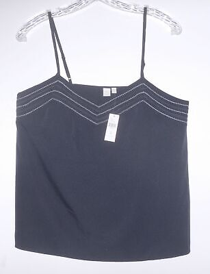 E by Eloise for ANTHROPOLOGIE  navy embroidered camisole top NWT Sz M