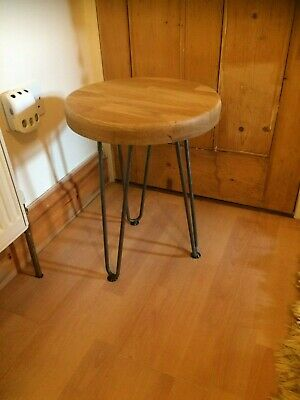 Stool / side table solid oak with steel hairpin legs (3 Only Remaining)