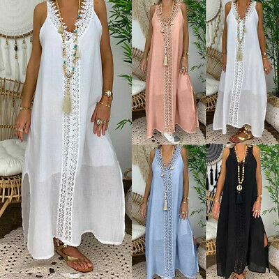 Summer Womens Solid Off Shoulder Sleeveless Party Bodycon Lace Long Dress Hot CA