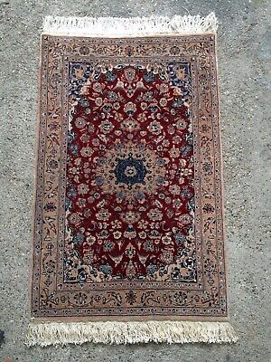 Echter China Isfahan Korkwolle mit Seide Rot 77 x 122 cm