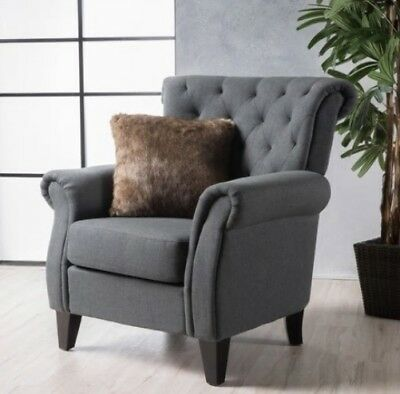 Marvelous Dark Gray High Back Tufted Fabric Club Chair Accent Arm Dailytribune Chair Design For Home Dailytribuneorg