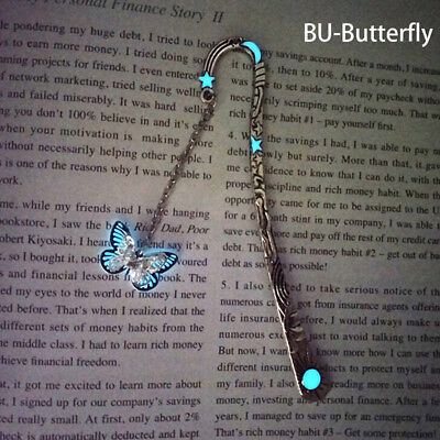 Glow In The Dark Butterfly Bookmark Tibetan Silver Book Marker Stationery cw
