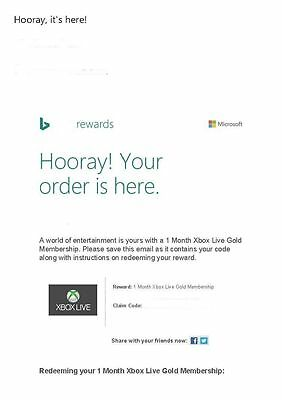 1 Month Xbox Live Gold Membership fast delivery