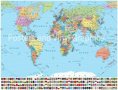 Political Map Of The World 2015.Political Map Of The World Poster Print World Map With Flags