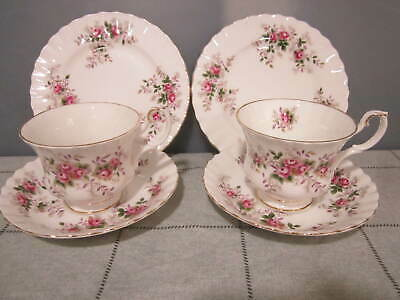 Two Vintage Royal Albert China Lavender Rose Tea Cups & Saucers & Plates Trio's