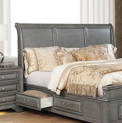 California King Size Bed Wood Inlay Sleigh Storage Drawers Wooden Bedroom Gray