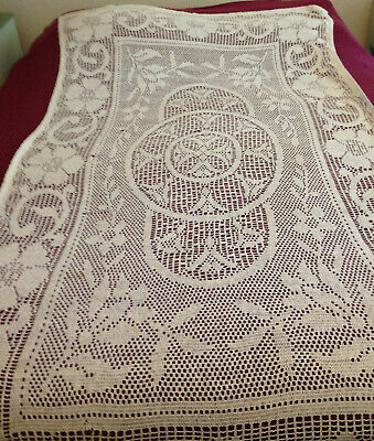 Vintage Hand Crocheted Rectangle Tablecloth-Beige-100% Cotton