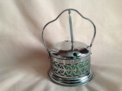 Art Deco Chrome With Glass Liner Perserves Holder,British Mw Made Good Used Cond