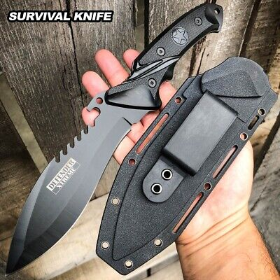 "11"" Black Tactical Full Tang Survival Military Army Fixed Blade Hunting Knife"