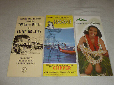 Vintage Hawaii Tour Travel Guide Lot Matson Pan American Airways Clipper 1950S