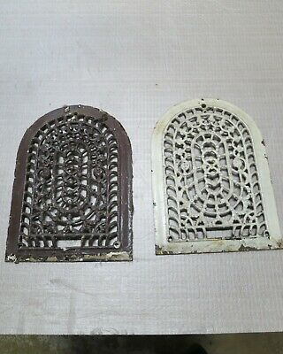 2 Cast Iron grate/vent ARCH COVERS Victorian wall raised matching pair