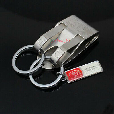 Stainless steel Silver Detachable Key chain Belt Clip two ring snap holder KC512
