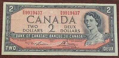 1954 - $2 Canada Bank Note - Canadian Two Dollar Bill - PG8087896