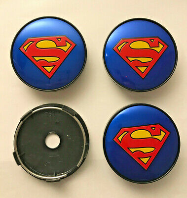4 x Superman 60mm / 57mm Wheel Centre Hub caps Blue / Red New Emblems Top Stock