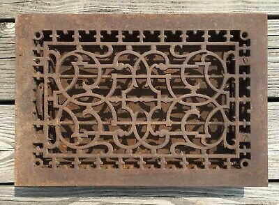 "Old Vtg Antique Cast Iron Metal Floor Grate Heat Vent Register 14"" X 9"" Louver"