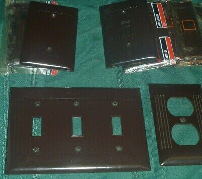Lot of 9 Vintage Brown Sierra Ribbed Bakelite Toggle Outlet Switch Wall Plate