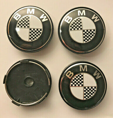 4 x BMW Checkered 60mm / 57mm Wheel Centre Hub Caps New Emblems Top UK Stock