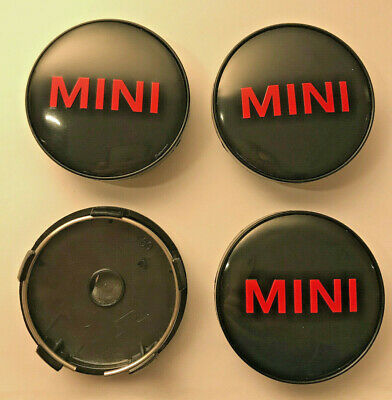 4 x MINI Letter 60mm / 57mm Wheel Centre Caps Black / Red New Emblems Top Stock