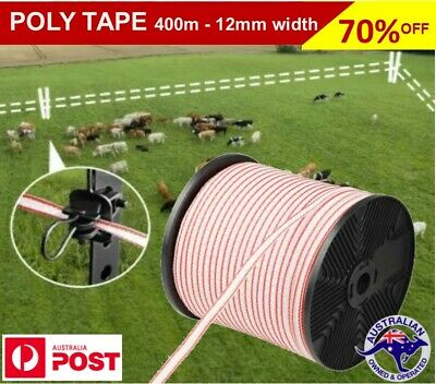 Polytape 400m Roll Electric Fence Energiser Stainless Steel Poly Tape