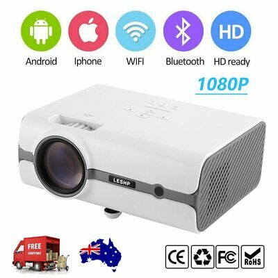 Android WiFi 7000 Lumens LED Home Theatre Projector Multimedia USB HDMI HD AU