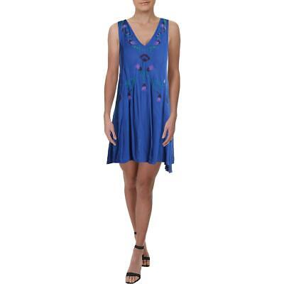 Free People Womens Adelaide Festival Blue Lace-Up V-Neck Slip Dress M BHFO 6513