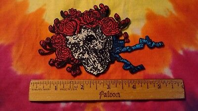 Grateful Dead Bertha Skull & Roses 5 Inch Iron On Patch