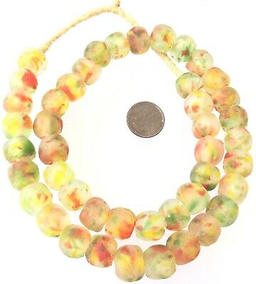 Ghana Multi Yellow Red Colored Krobo recycled Glass African trade Beads-Ghana