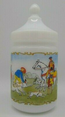 Hunting Scene Lidded Apothecary Canister Container White Milk Glass Vintage LRGE