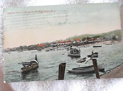 HIGHLANDS,NEW JERSEY-1914-color postcard-SHORE FRONT & BOATS