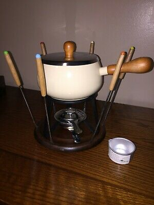 Vintage Porcelain Enamel Fondue Set from 1970s in original box. Barely Used.