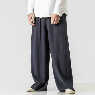 Chinese Tang Suit Mens Linen Cotton Pants Loose Kung Fu Tai Chi Wide Leg Trouser