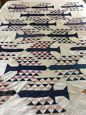 VINTAGE ANTIQUE HANDMADE TREE OF TEMPTATION QUILT TOP C.LATE 1800s early 1900s