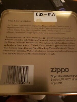 ZIPPO 70th ANNIVERSARY (1932-2002) FRIENDS FOR A LIFETIME SEALED IN ORIGINAL TIN