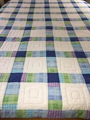 """Colorlful Vintage Hand Quilted Cotton Madras Plaids Quilt 82"""" X 83"""""""