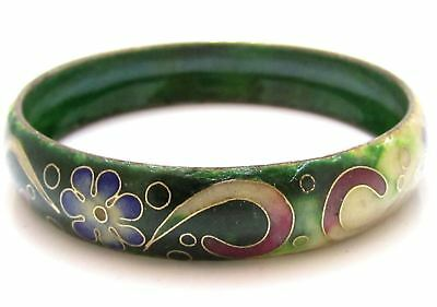 Chinese? Old Antique Green Cloisonne Enamel Flowers Vintage Bangle Bracelet E375