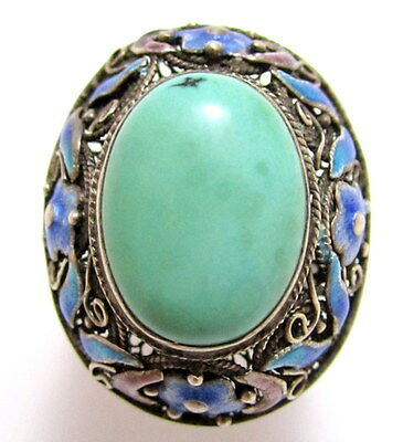 Vintage Chinese Enamel Flower Sterling Silver 925 Turquoise Ring Size 9.25 E363