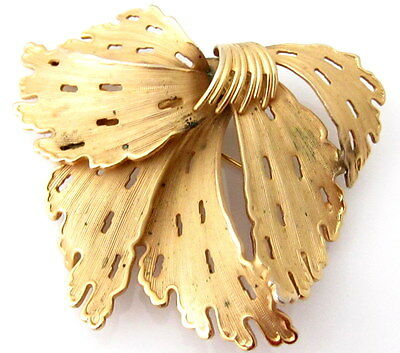 Corocraft Old Large Vintage Gold Plated Abstract Flower Signed Brooch Pin 867D