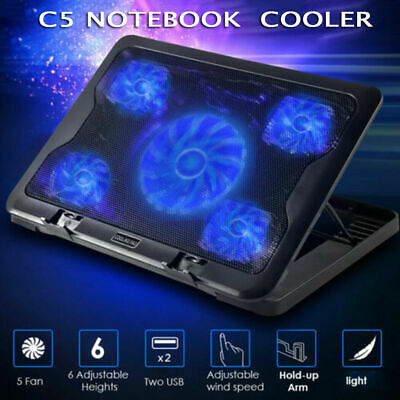 "Adjustable Height Laptop Notebook Cooling Pad 5 Fans Blue LED Fit 7""-17"""