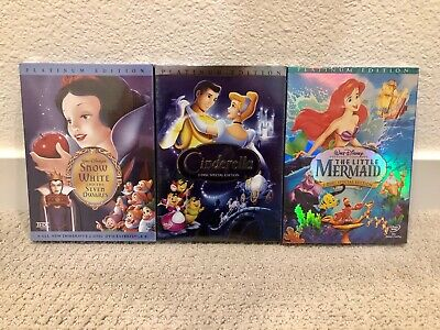 Snow White, Cinderella, and Little Mermaid 3 DVD Set New with Free Shipping